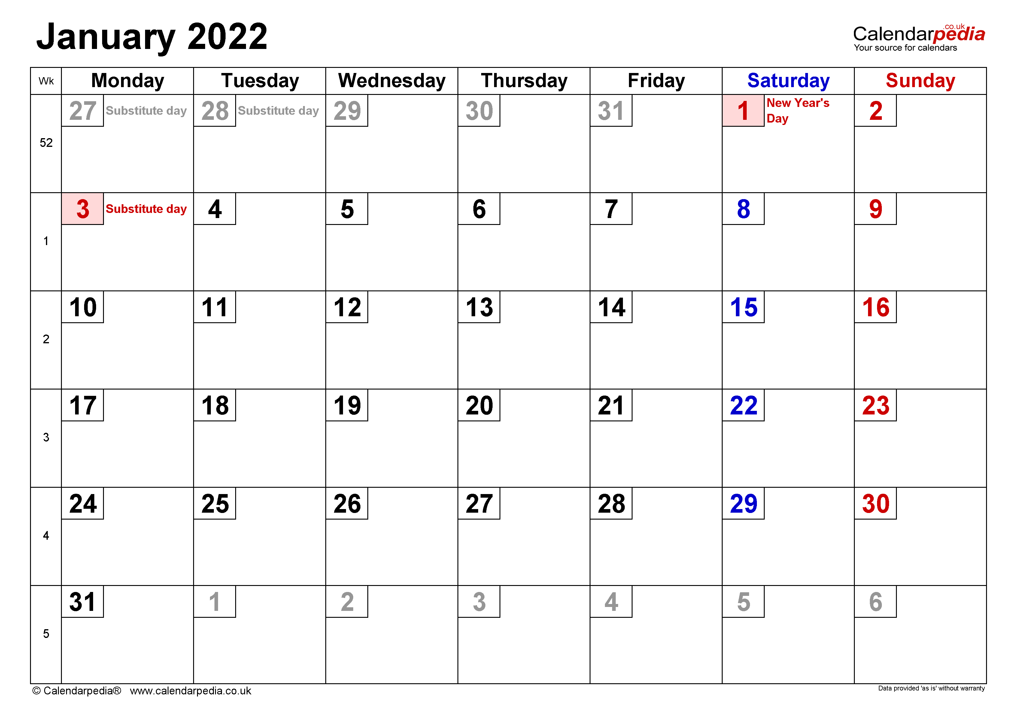 Calendar January 2022 Uk With Excel, Word And Pdf Templates Throughout January Printable Calendar 2022