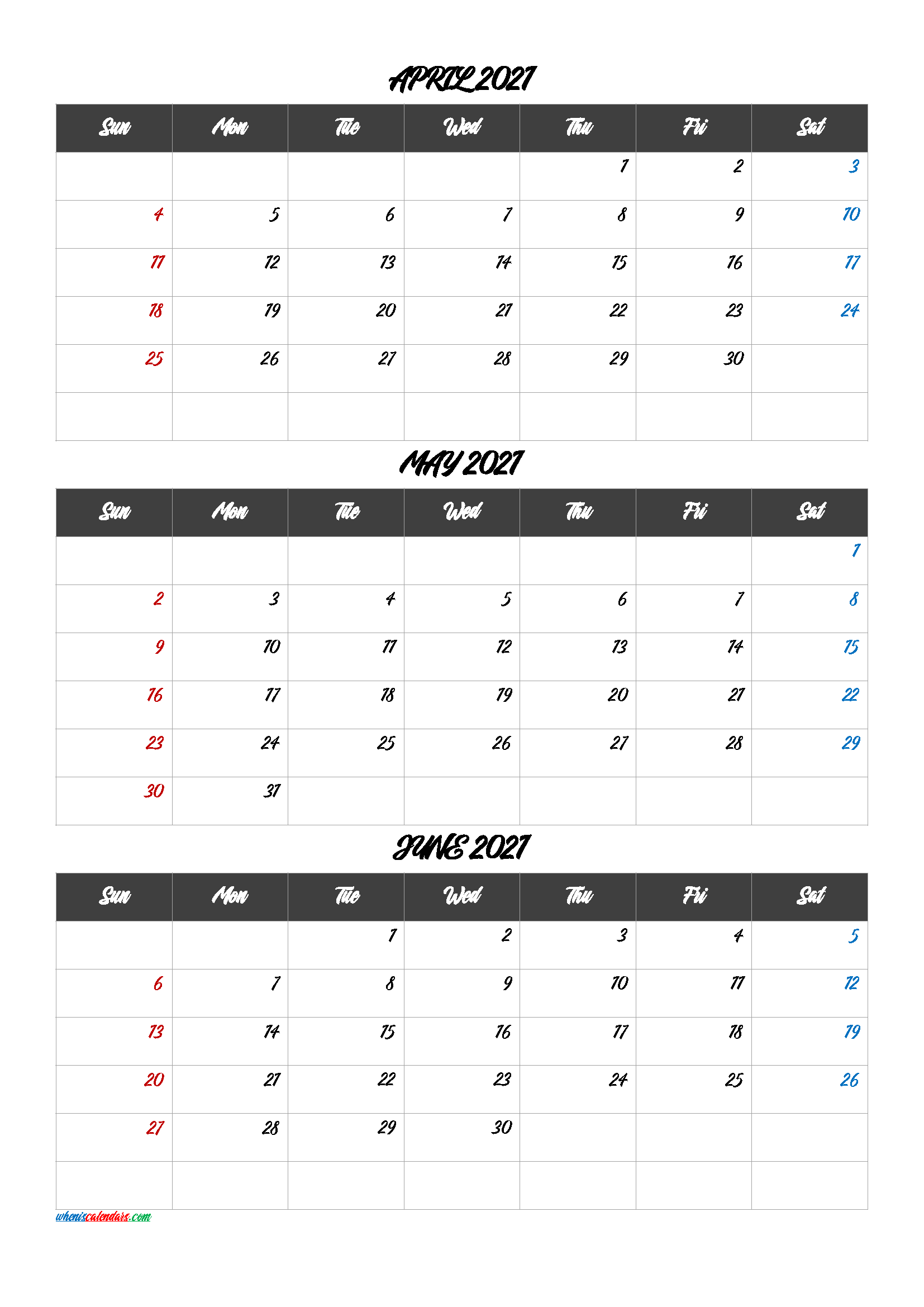 Calendar January February March 2021 [Q1 Q2 Q3 Q4] For 2021 Calendar March April May