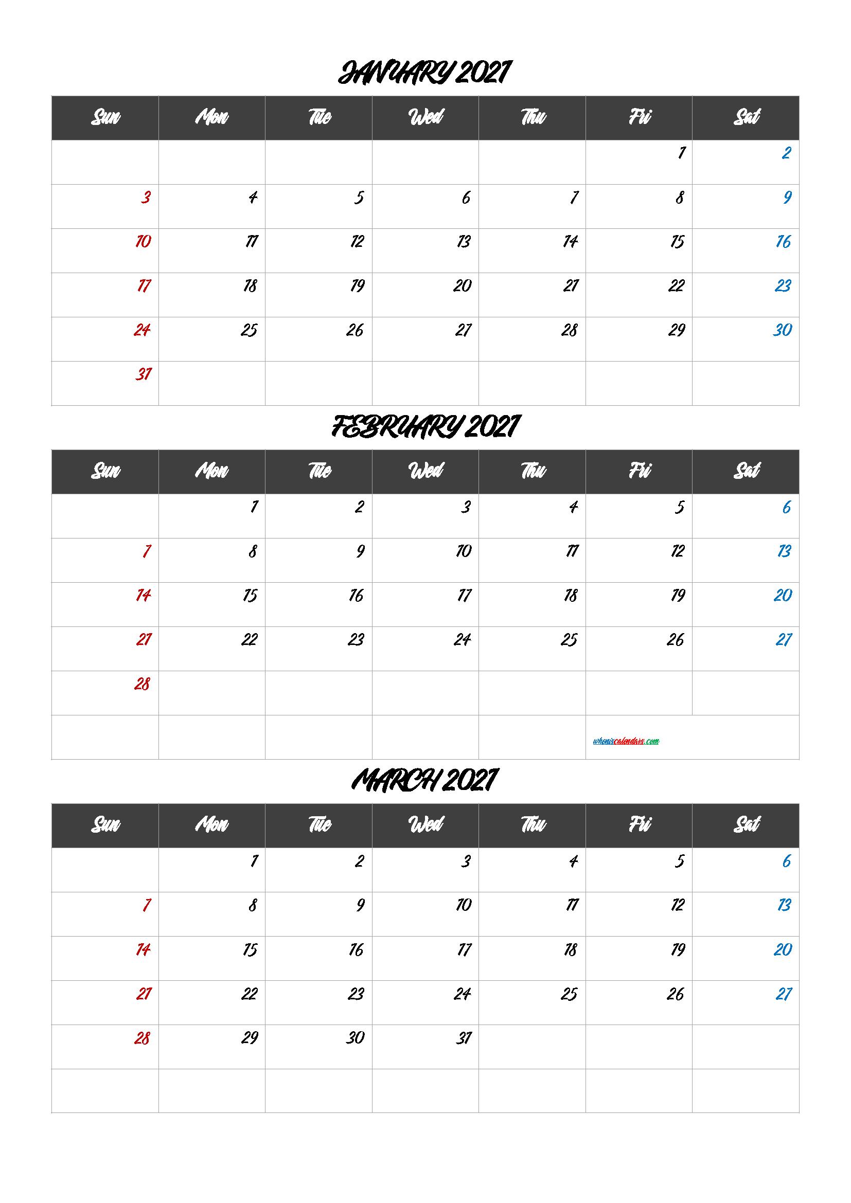 Calendar January February March 2021 [Q1 Q2 Q3 Q4] Intended For January February March 2021 Calendar