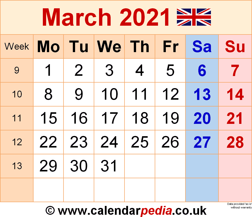 Calendar March 2021 Uk With Excel, Word And Pdf Templates For March 2021 Calendar Images