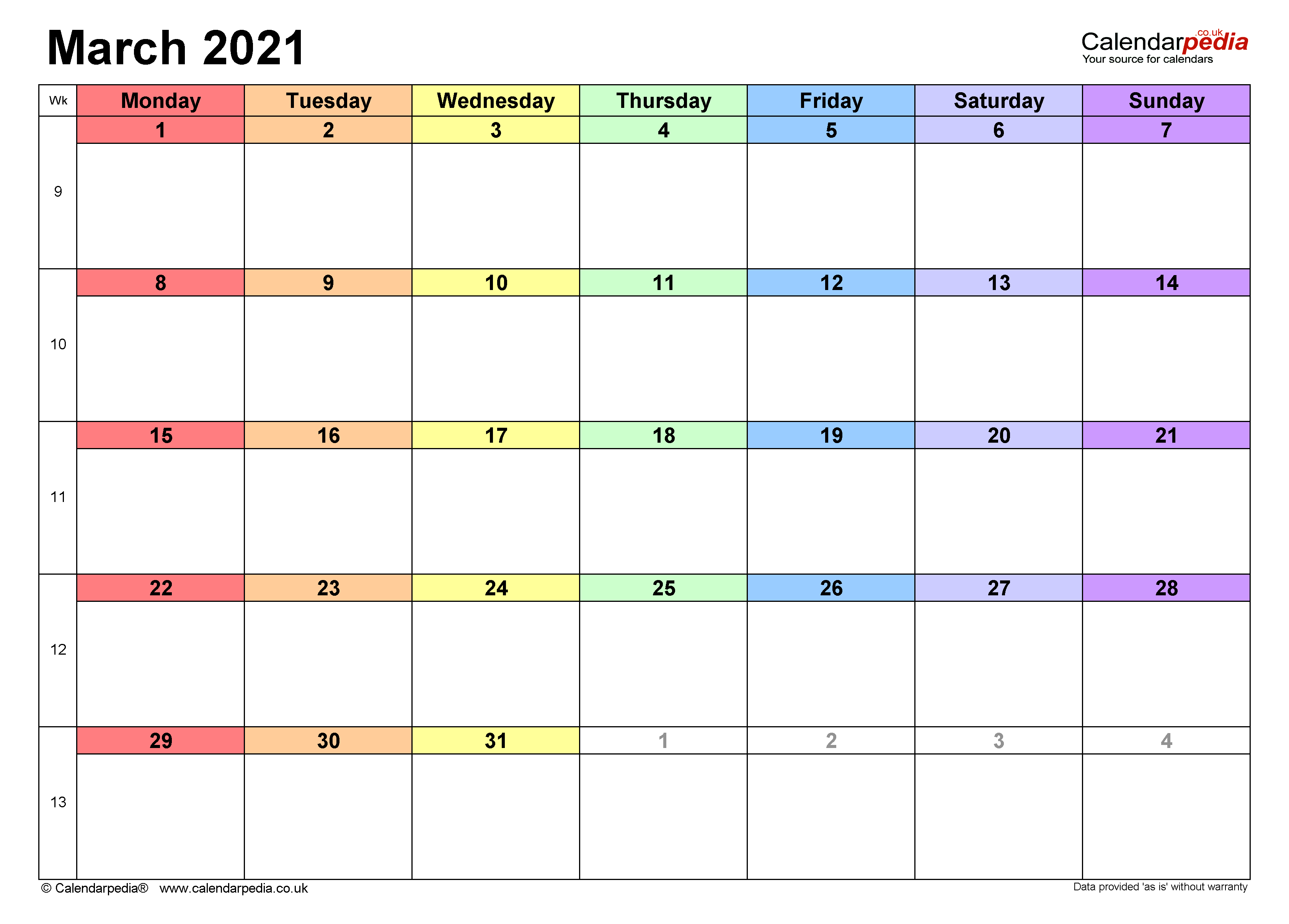 Calendar March 2021 Uk With Excel, Word And Pdf Templates Inside March 2021 Calendar Images