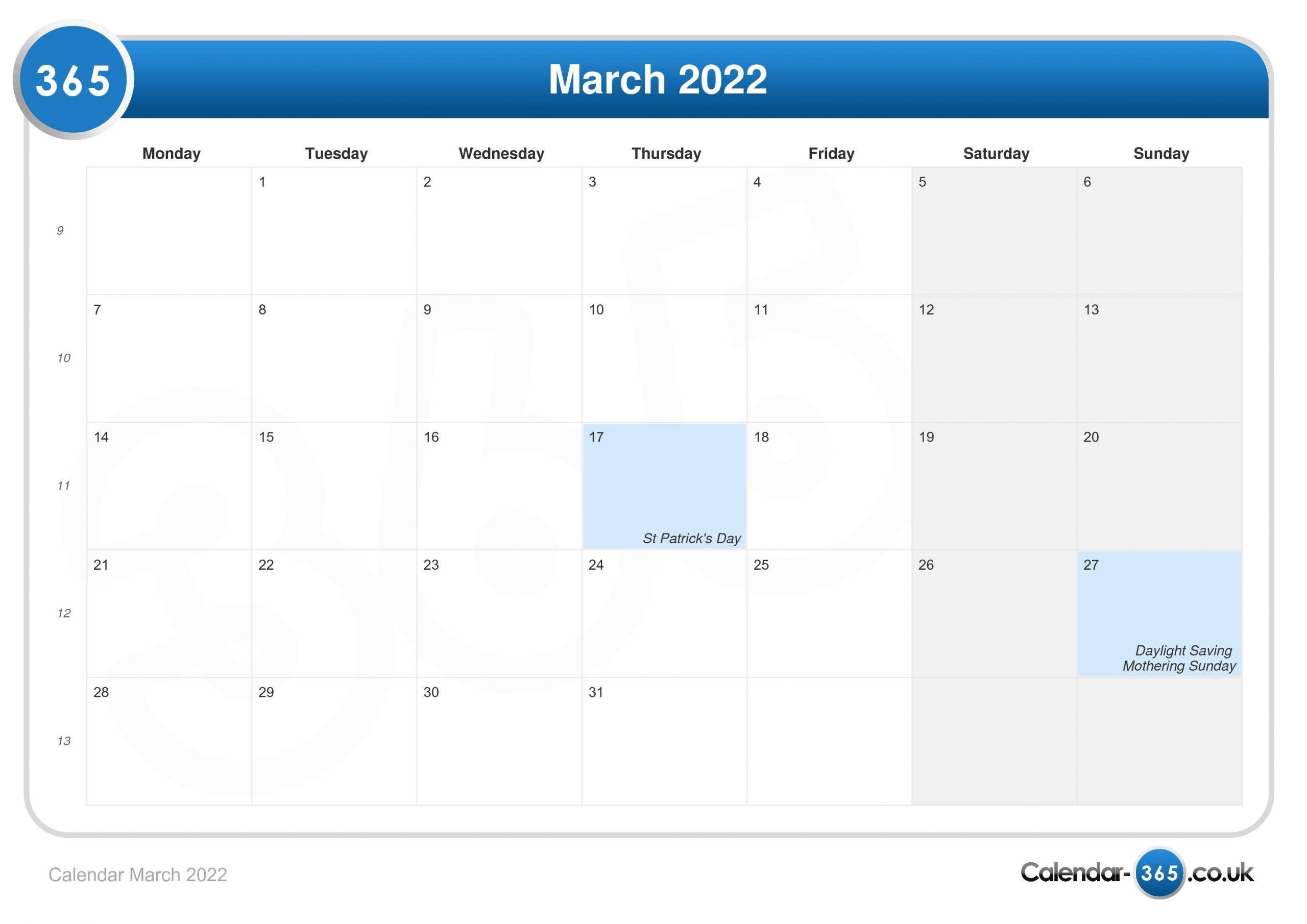Calendar March 2022 Regarding Calendar For March 2022