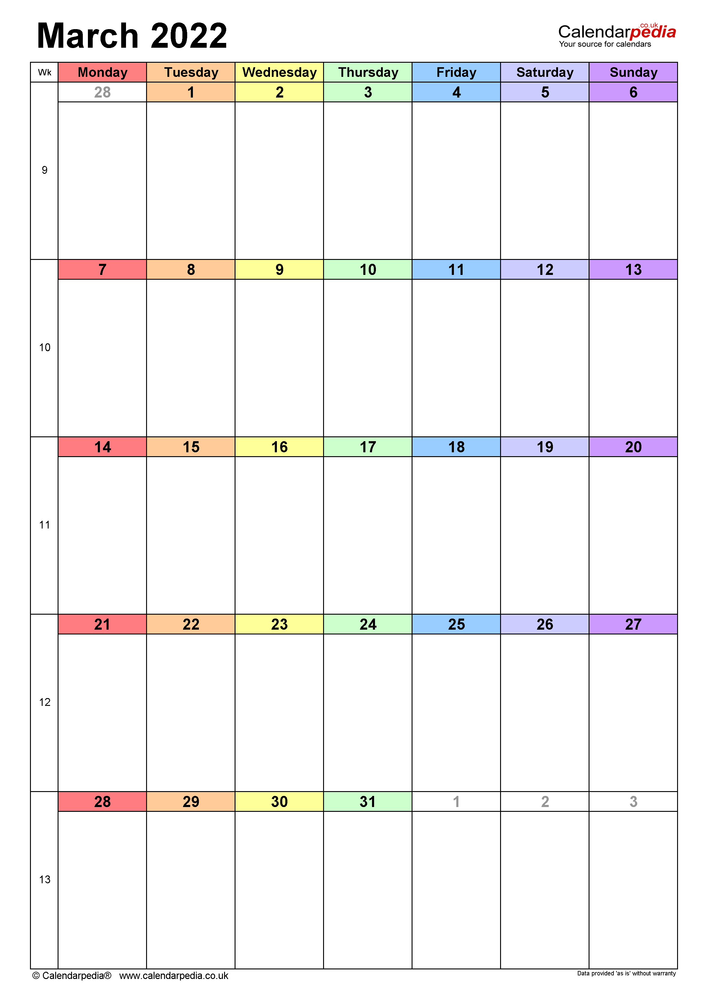 Calendar March 2022 Uk With Excel, Word And Pdf Templates For Printable Calendars 2022 March