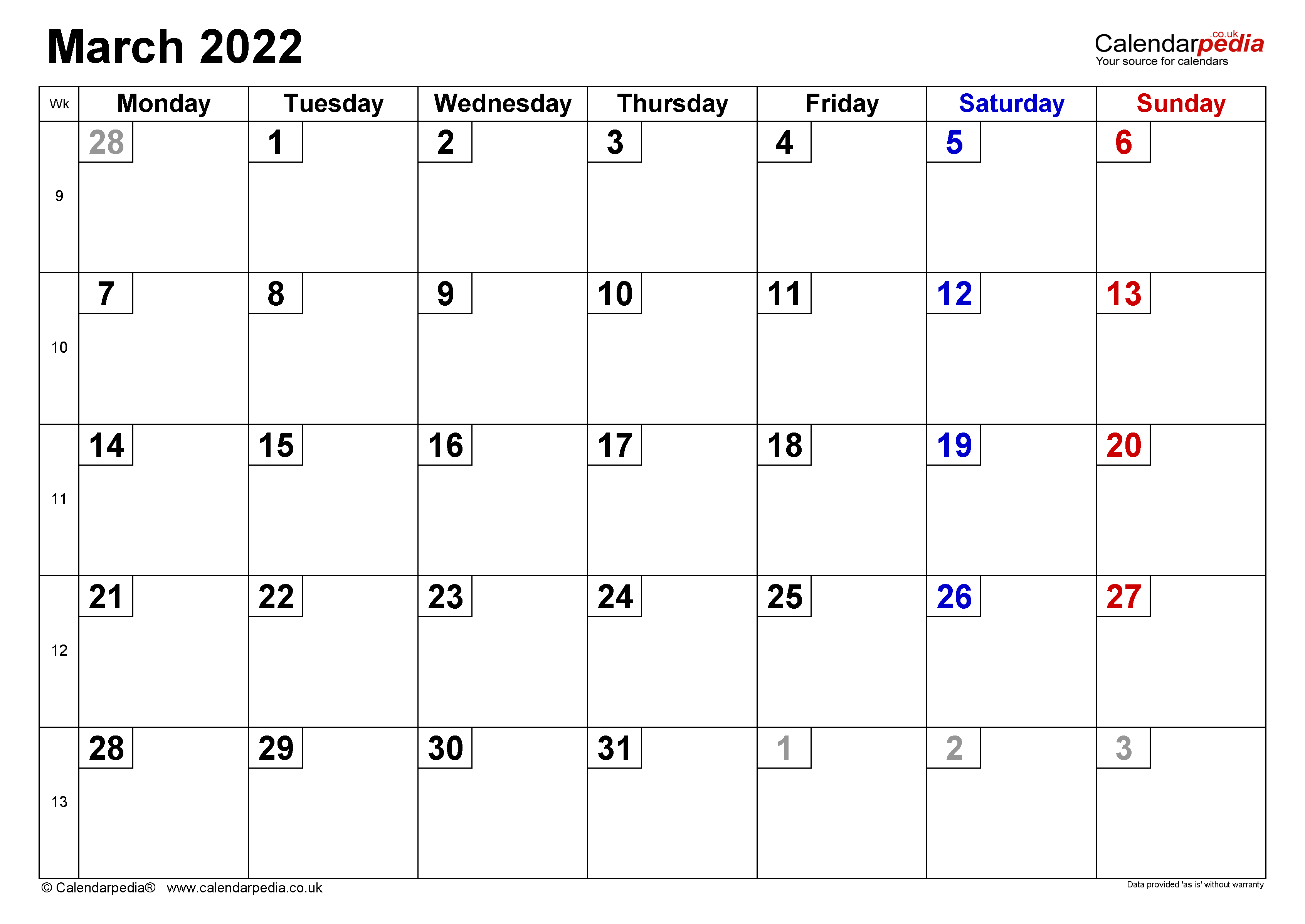 Calendar March 2022 Uk With Excel, Word And Pdf Templates In February 2022 Month Calendar Page