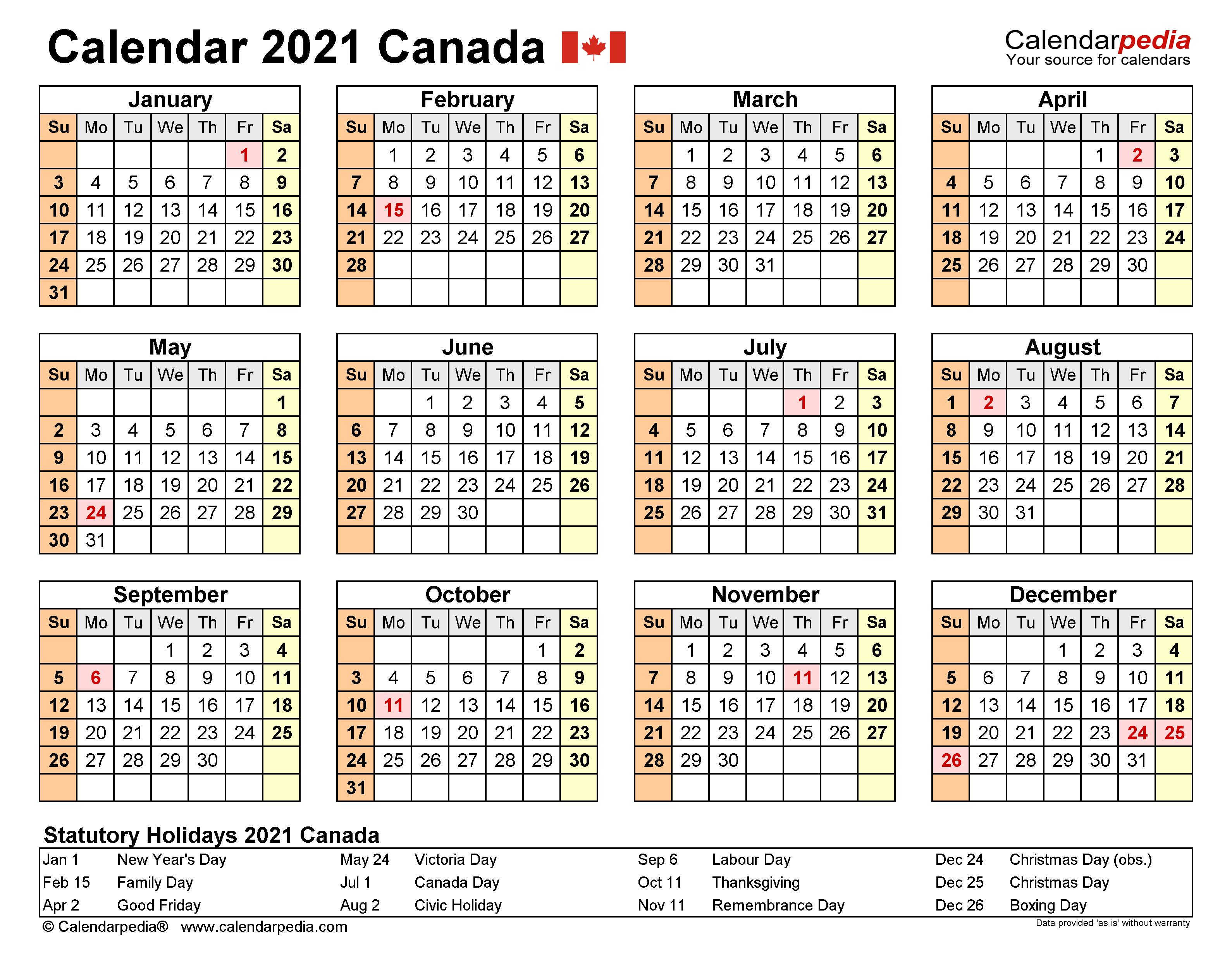 Canada Holiday Calendar 2021 - Holiday Calendar intended for Uri Academic Calendar 2022