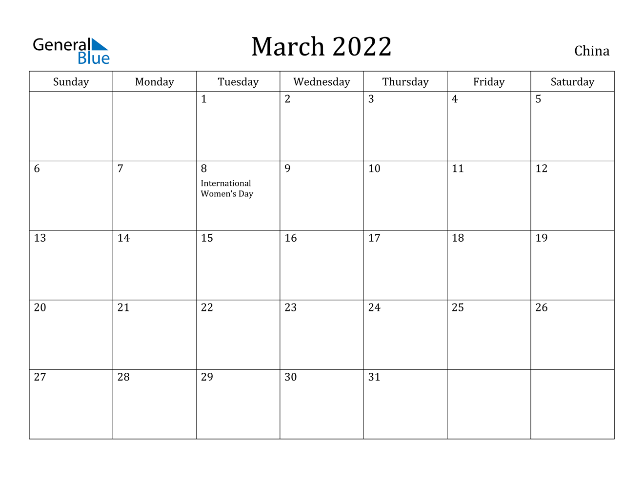 China March 2022 Calendar With Holidays Pertaining To March And April 2022 Calendar Pages