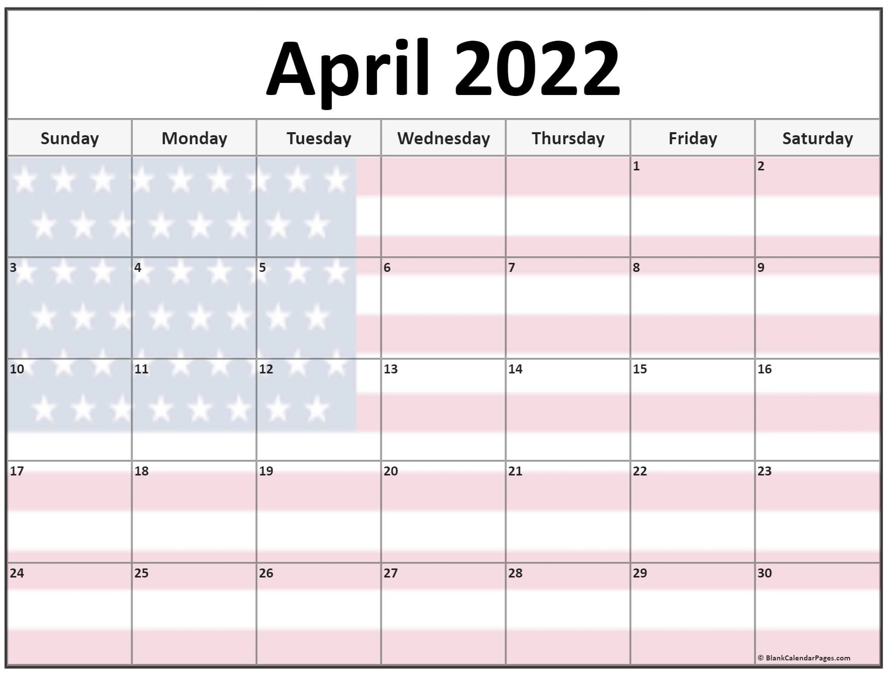 Collection Of April 2022 Photo Calendars With Image Filters. For Blank Calendar April 2022 Printable February