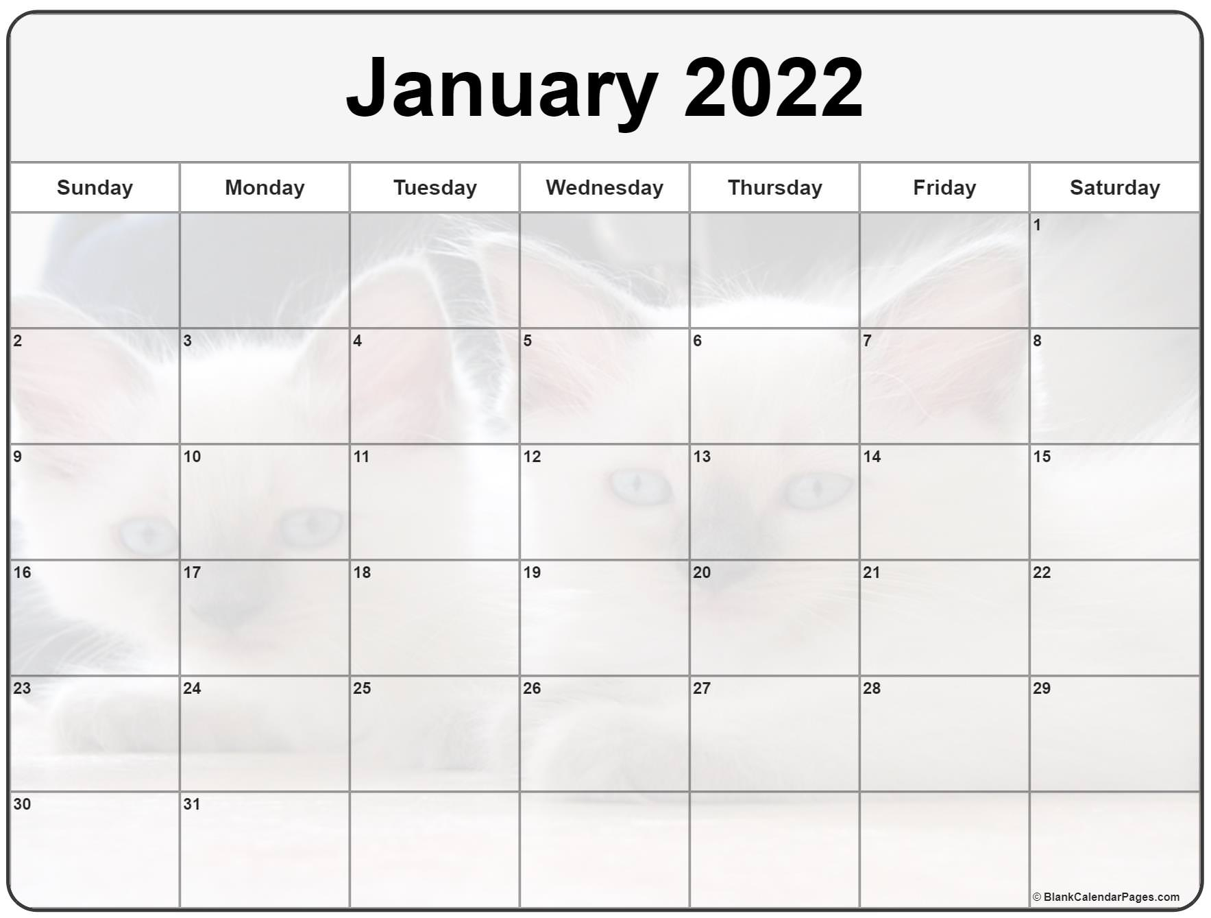 Collection Of January 2022 Photo Calendars With Image Filters. Pertaining To Printable Calendars January 2022 To December 2022