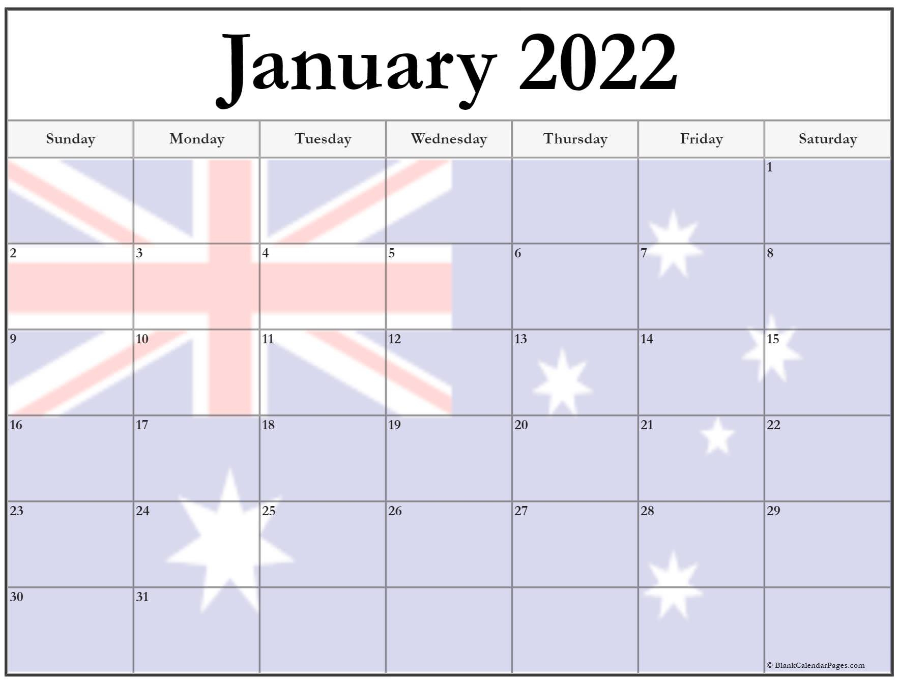 Collection Of January 2022 Photo Calendars With Image Filters. With Regard To January 2022 Calendar Printable Free