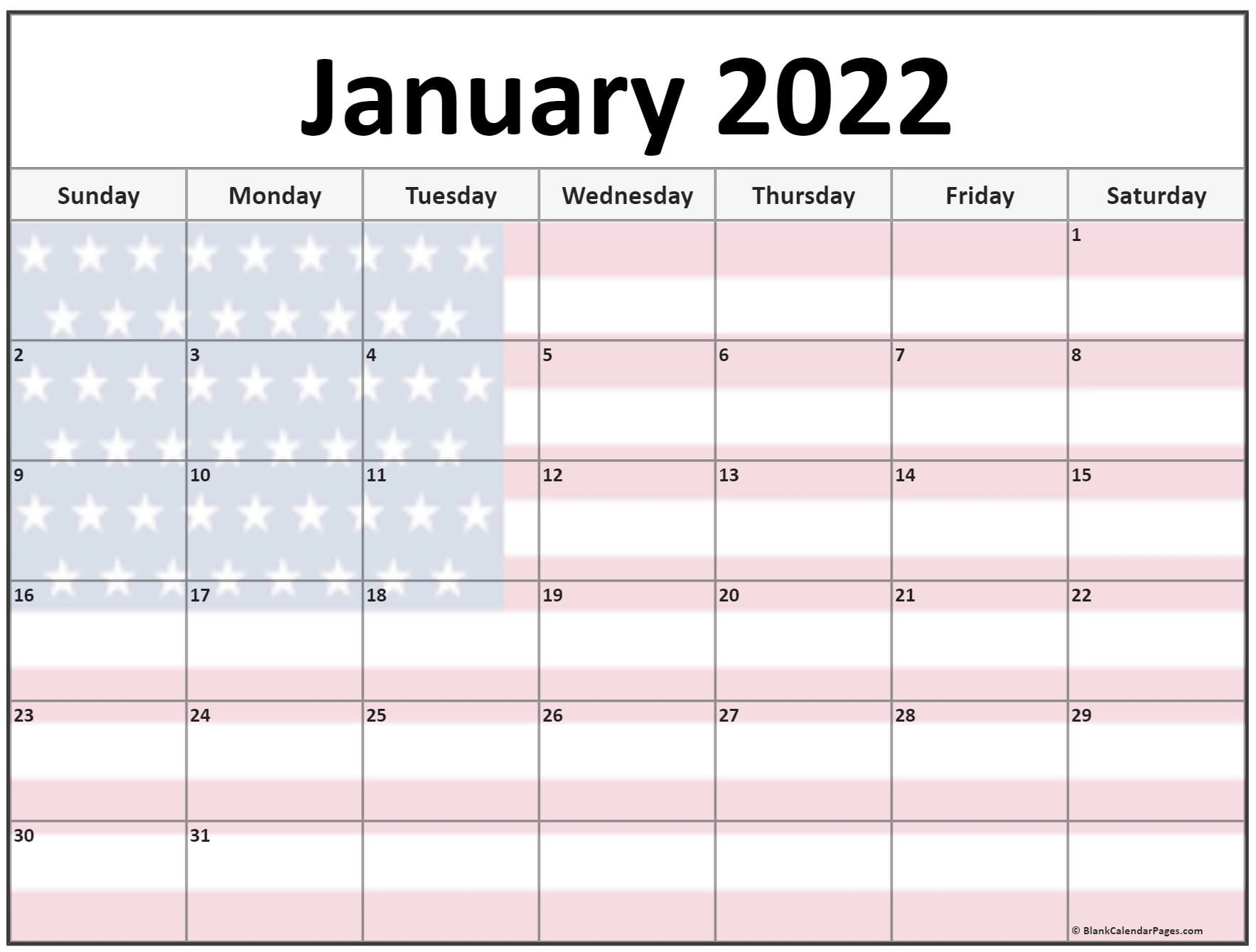 Collection Of January 2022 Photo Calendars With Image Filters. With Regard To Printable Calendars January 2022 To December 2022