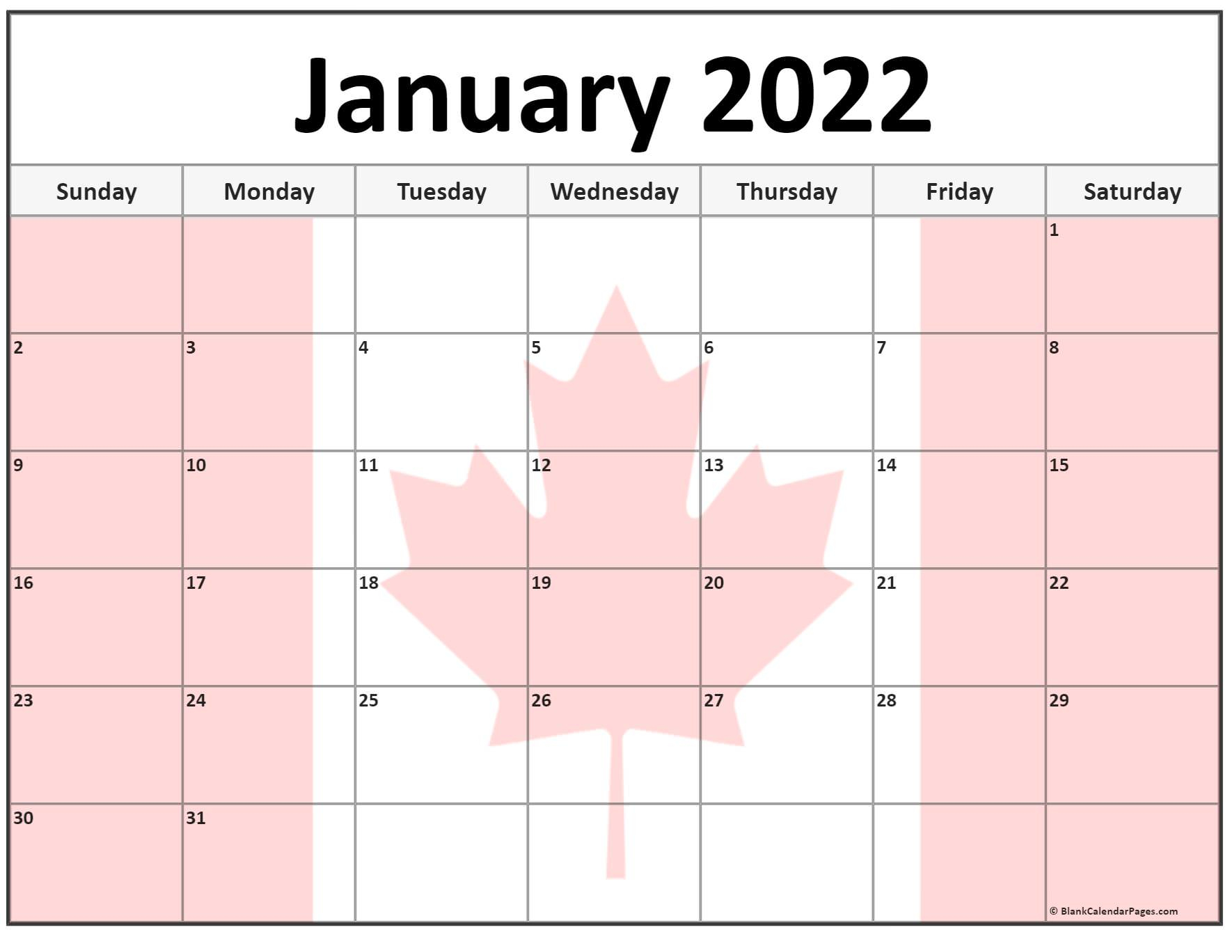 Collection Of January 2022 Photo Calendars With Image Filters. Within Printable January 2022 Calendar