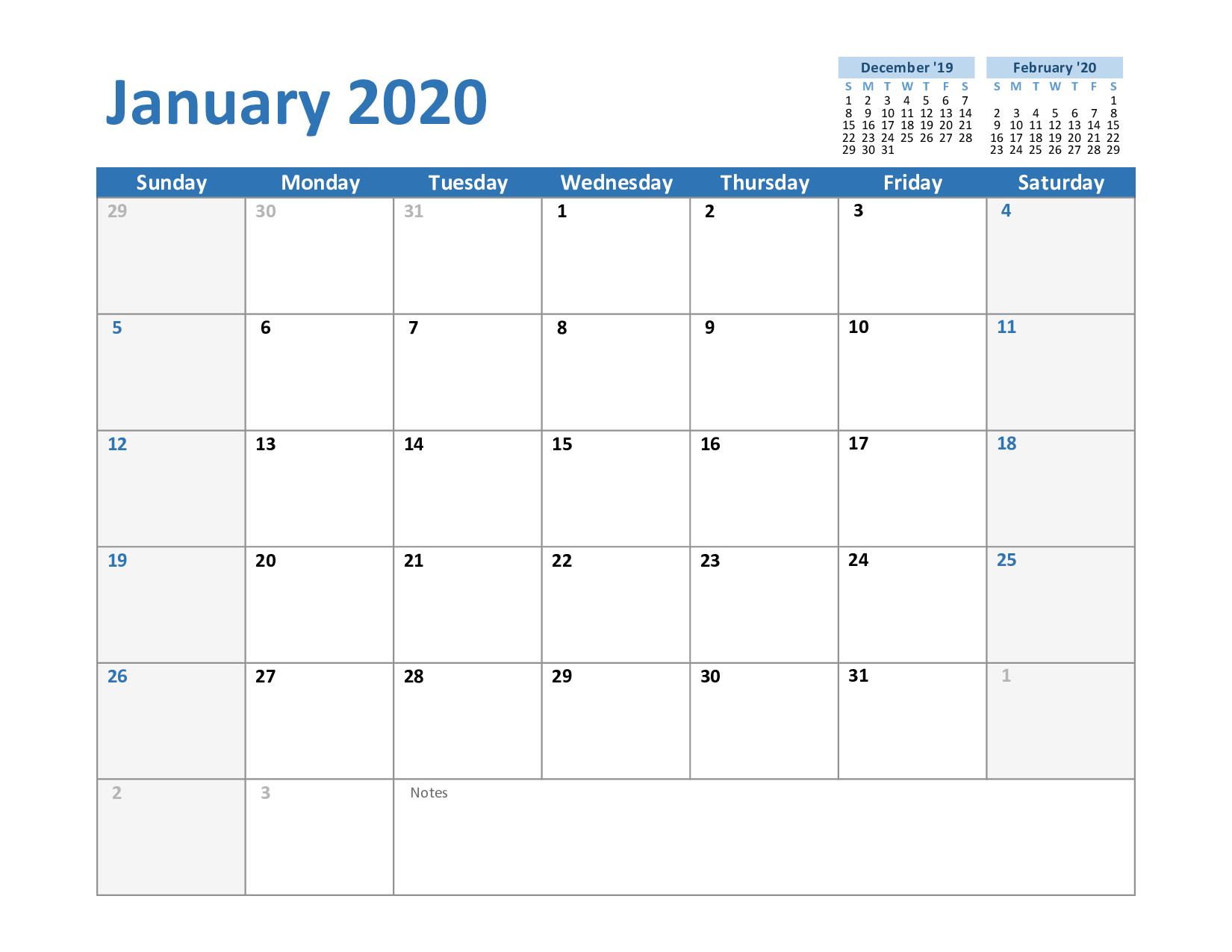Create Your January 2020 Calendar Printable – Editable With Regard To Print Calendar January 2022 Fillable Lines