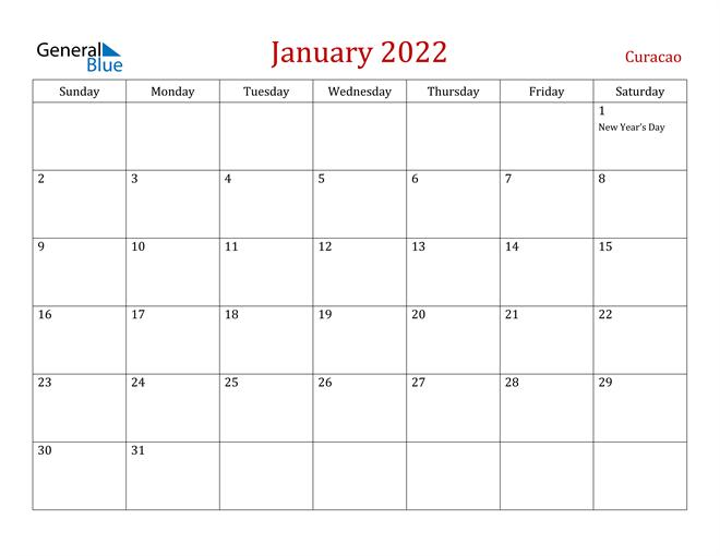 Curacao January 2022 Calendar With Holidays Pertaining To January Calendar 2022 Full Page