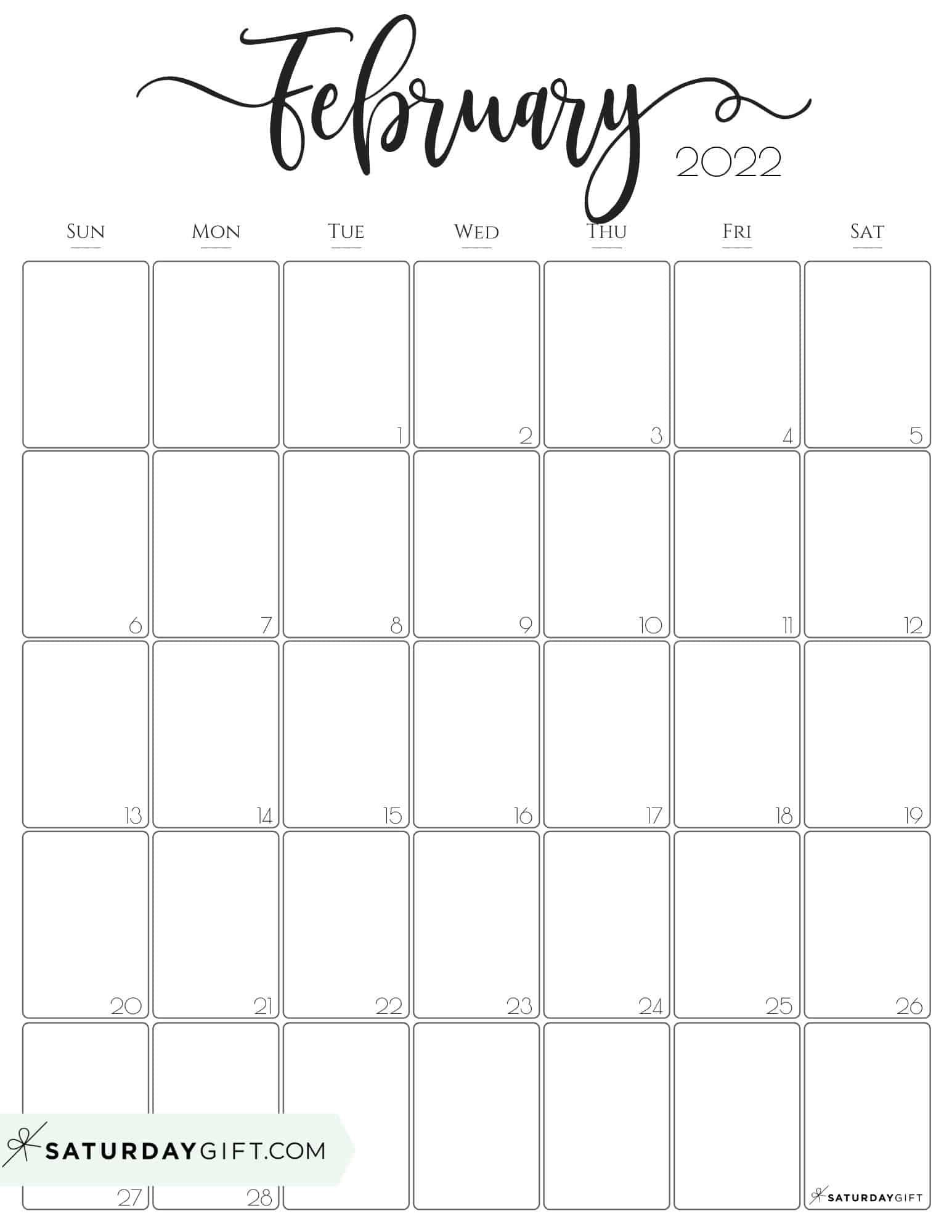Cute (& Free!) Printable February 2022 Calendar   Saturdaygift Regarding February 2022 Calendar Monday Start