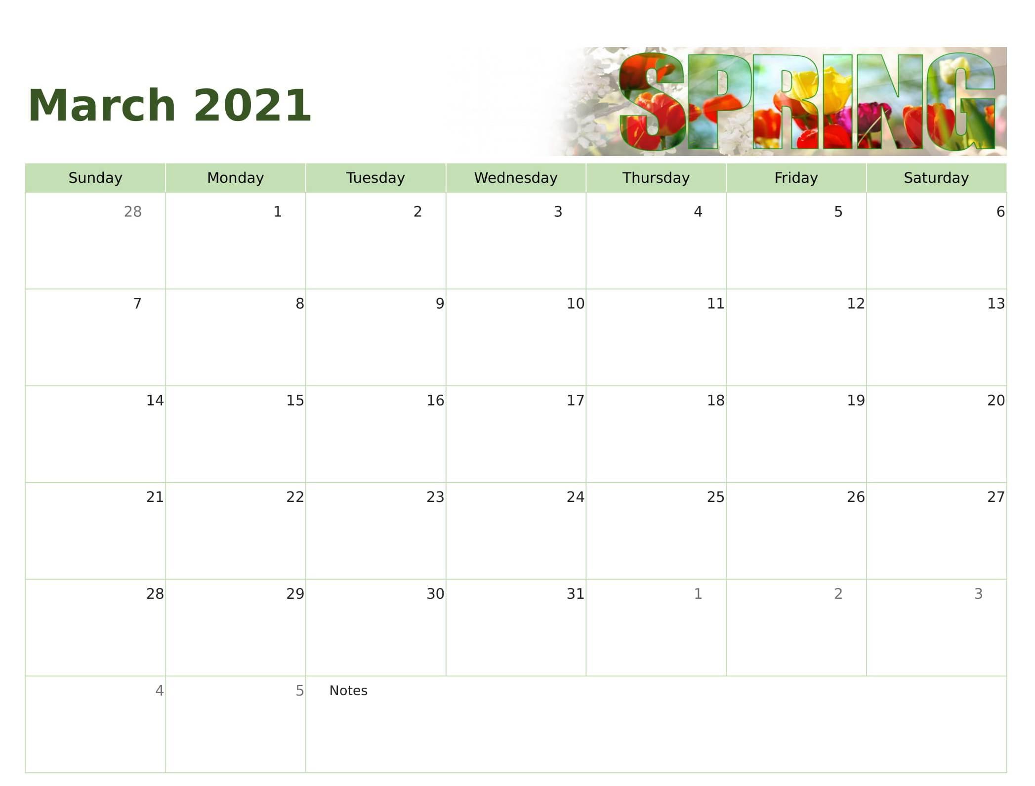 Cute March 2021 Calendar Printable Design - Printable Within March 2021 Calendar Template