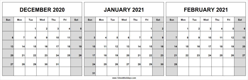 December 2020 January February 2021 Calendar For Print With December January February Calendar
