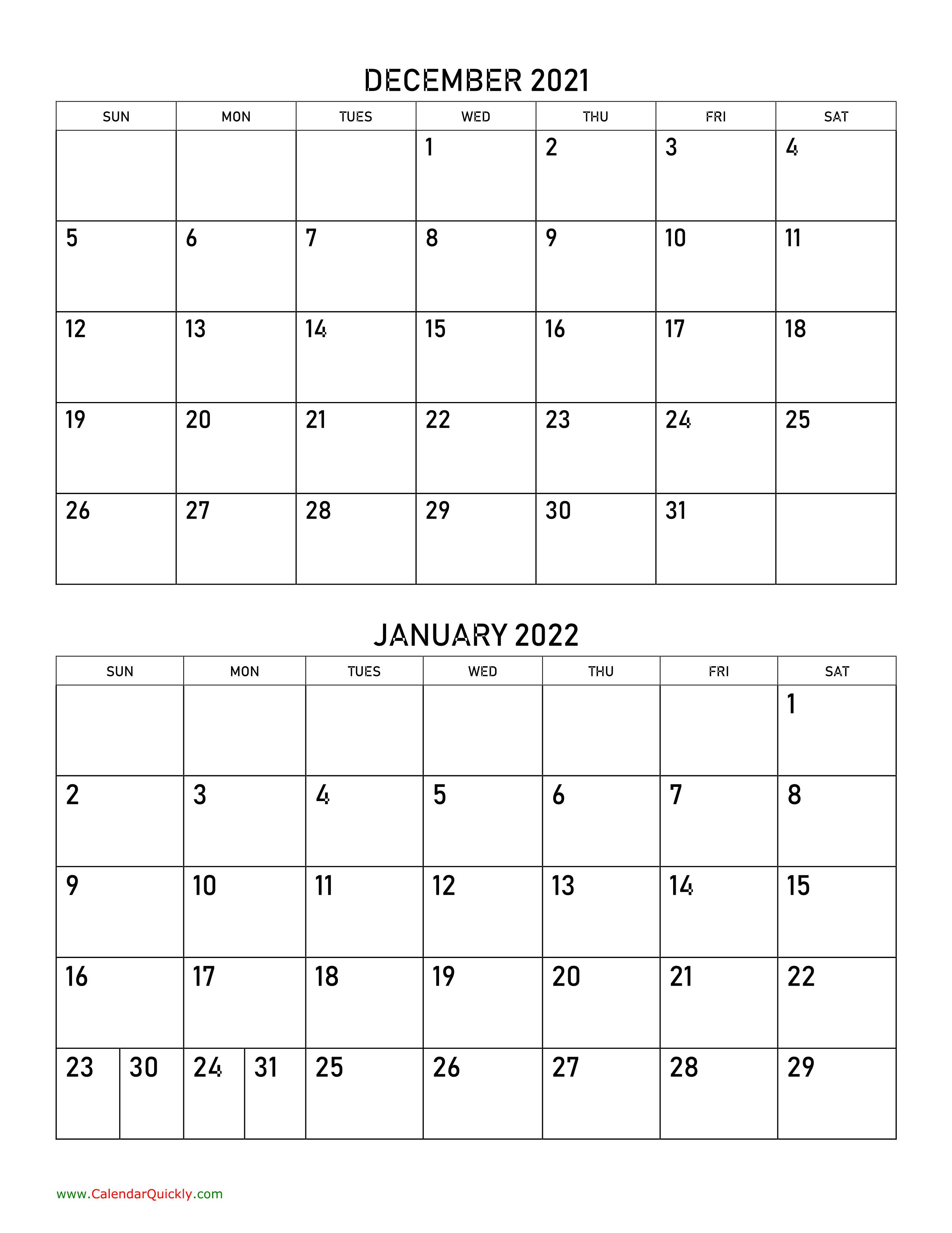 December 2021 And January 2022 Calendar | Calendar Quickly In Printable Calendars January 2022 To December 2022