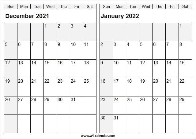 December 2021 January 2022 Calendar Printable - 2021 Throughout January 2022 Printable Calendar Cute