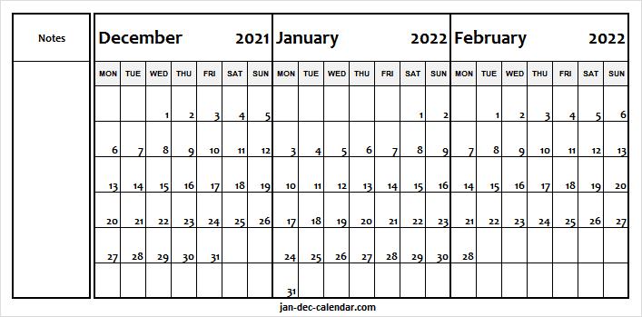 December 2021 To February 2022 Calendar Monday Start – To With Regard To February 2022 Calendar Monday Start