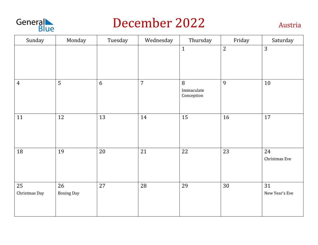 December 2022 Calendar - Austria With Printable Calendars January 2022 To December 2022