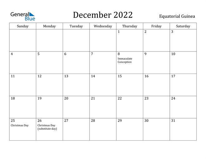 December 2022 Calendar - Equatorial Guinea With December January Calendars 2022 2022