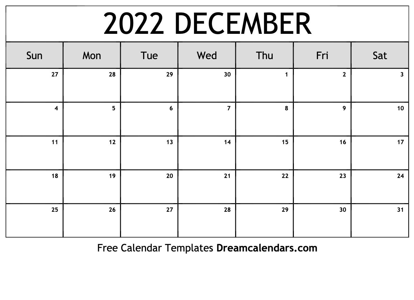 December 2022 Calendar   Free Blank Printable Templates In December January Calendars 2022 2022