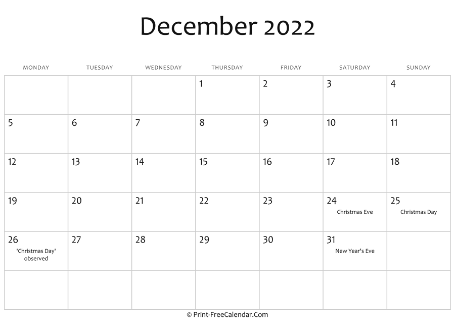 December 2022 Editable Calendar With Holidays Within Printable Calendars January 2022 To December 2022