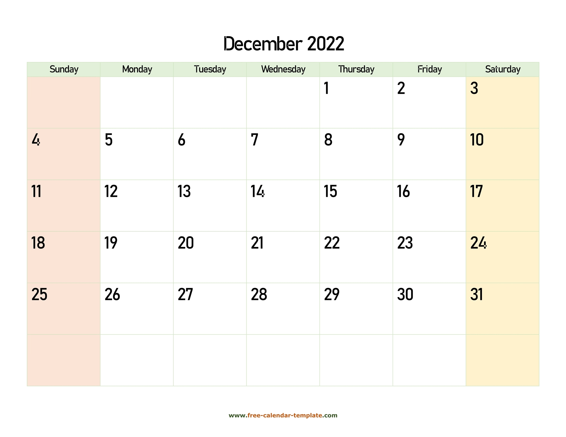 December 2022 Free Calendar Tempplate   Free Calendar Regarding December January Calendars 2022 2022