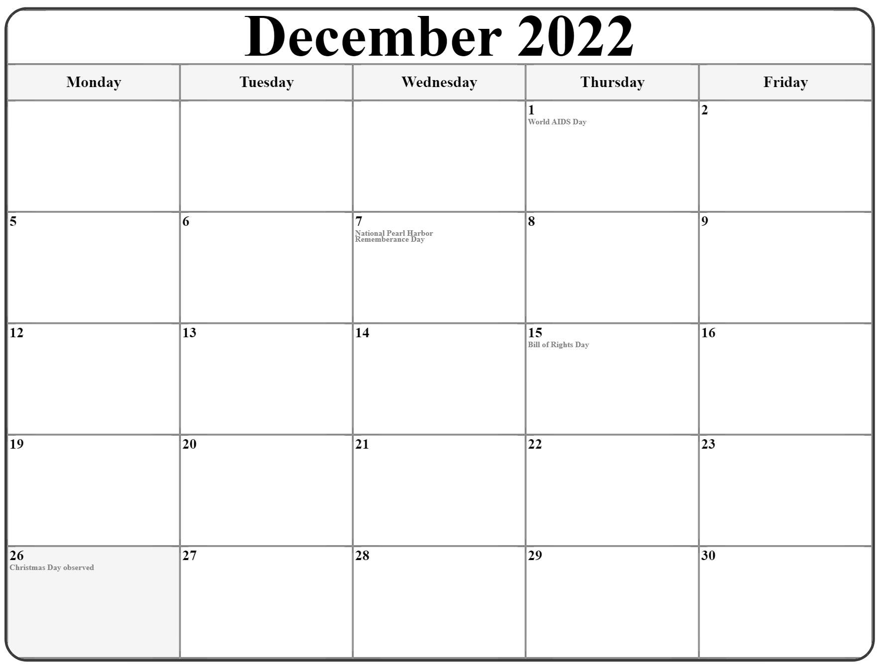 December 2022 Monday Calendar   Monday To Sunday Inside December January Calendars 2022 2022
