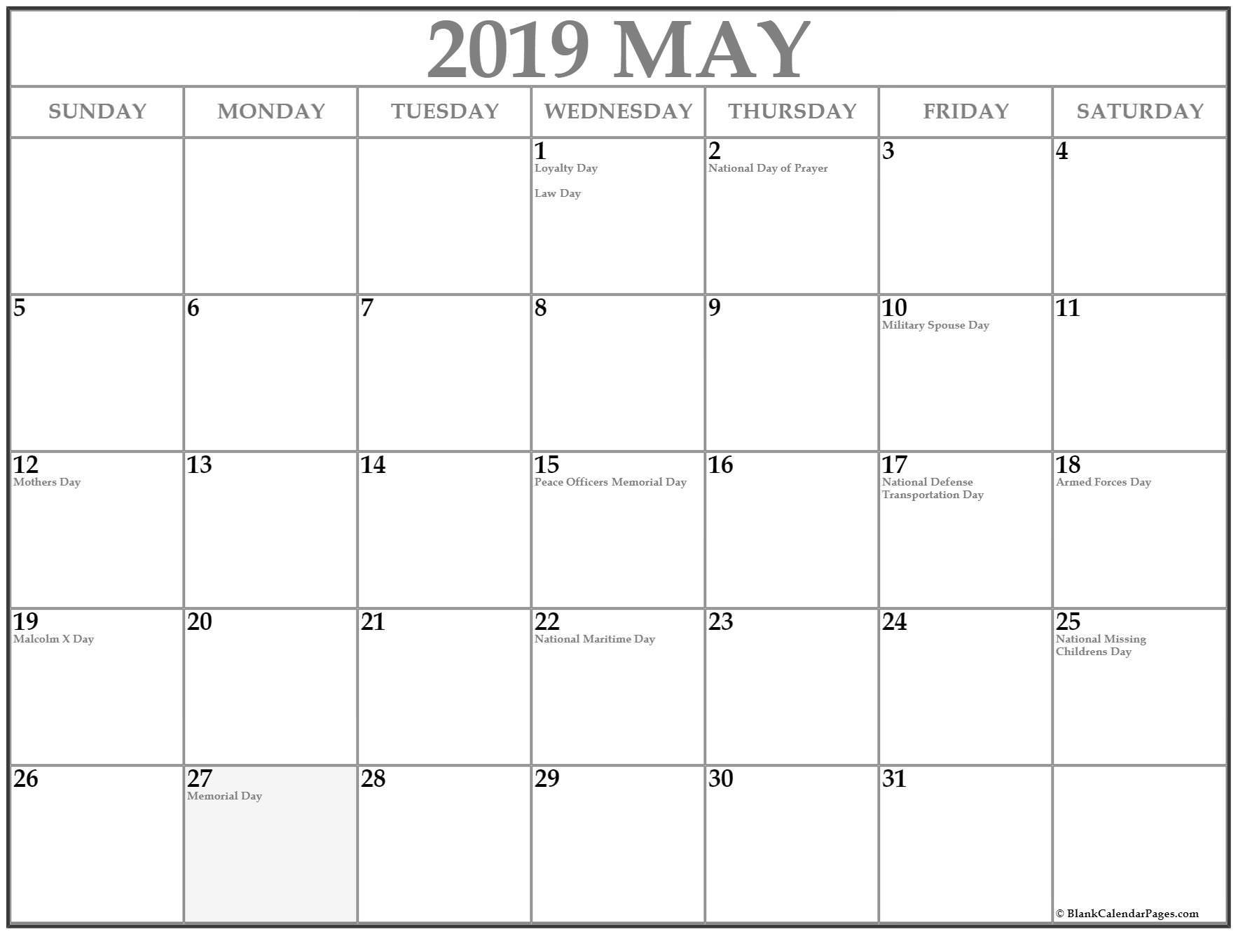 Download 2019 Calendar Printable With Holidays List | Free Throughout January February March April May Calendar
