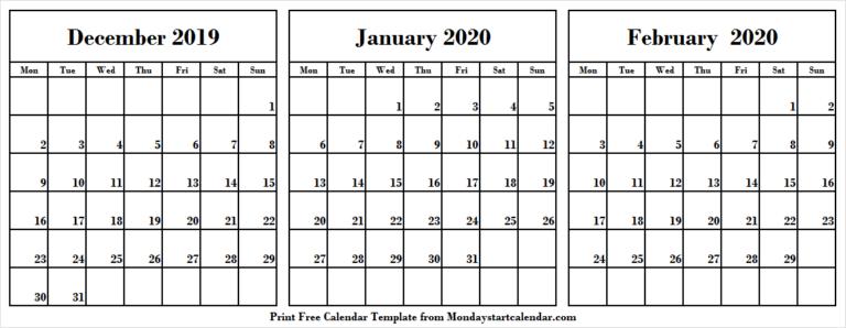 Download 2019 December 2020 January February Calendar pertaining to December January February Calendar