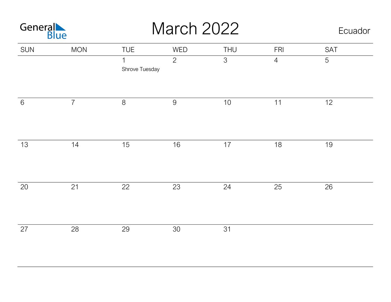 Ecuador March 2022 Calendar With Holidays Throughout February March April May 2022 Calendar