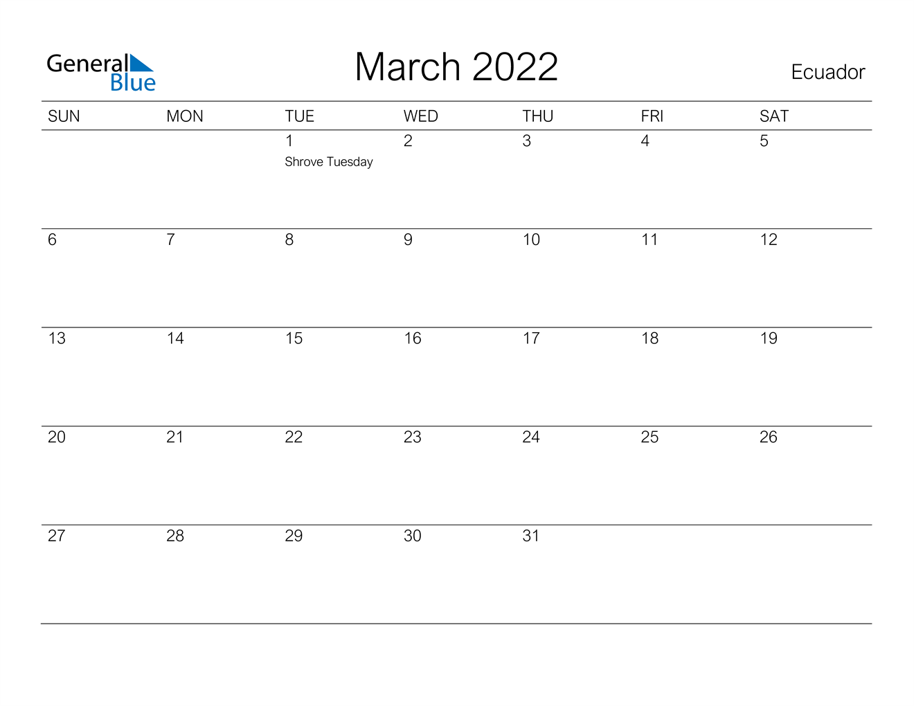 Ecuador March 2022 Calendar With Holidays With March And April 2022 Calendar Free Printable