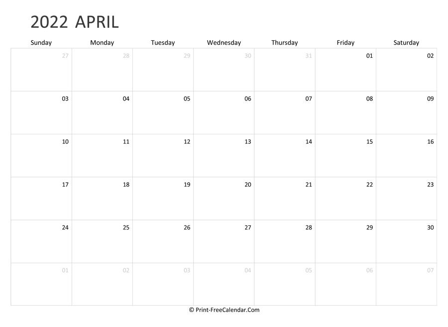 Editable April Calendar 2022 (Landscape Layout) Regarding Calendars March April And May 2022 Calendar