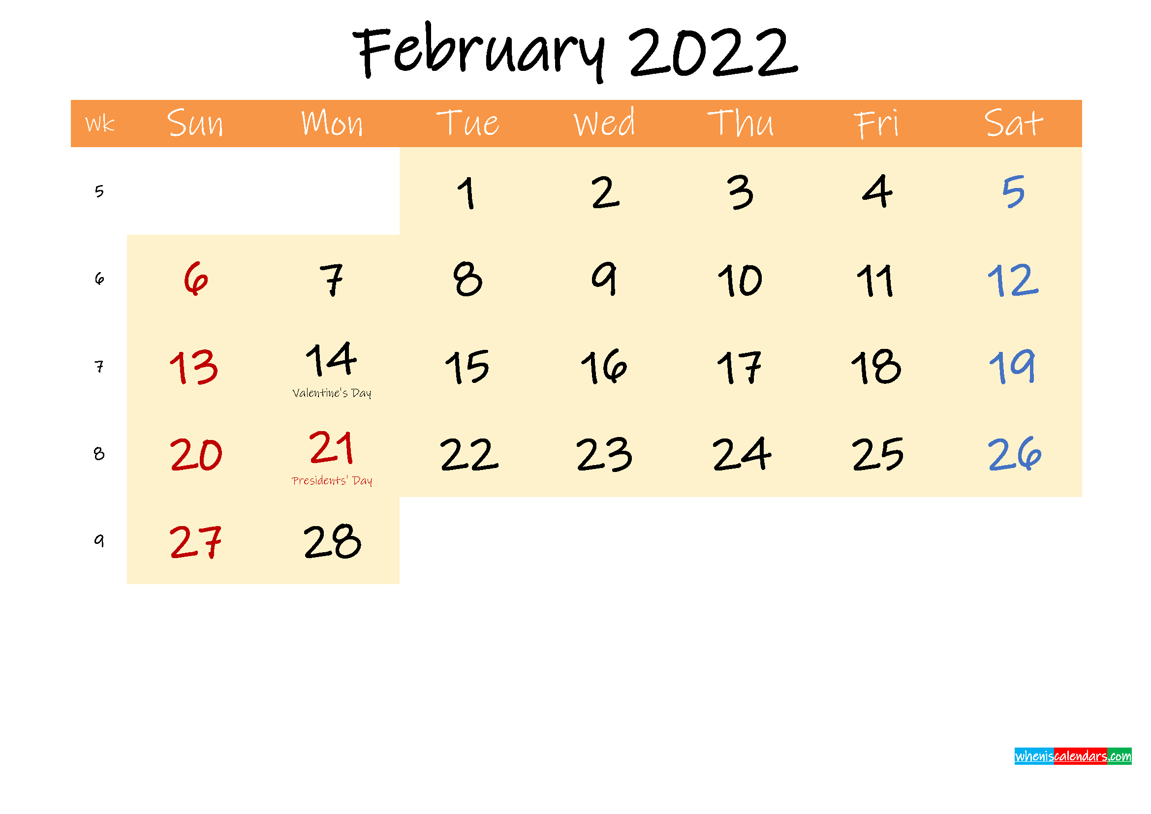 Editable February 2022 Calendar – Template No.ink22M242 In Calendar Print Feb 2022