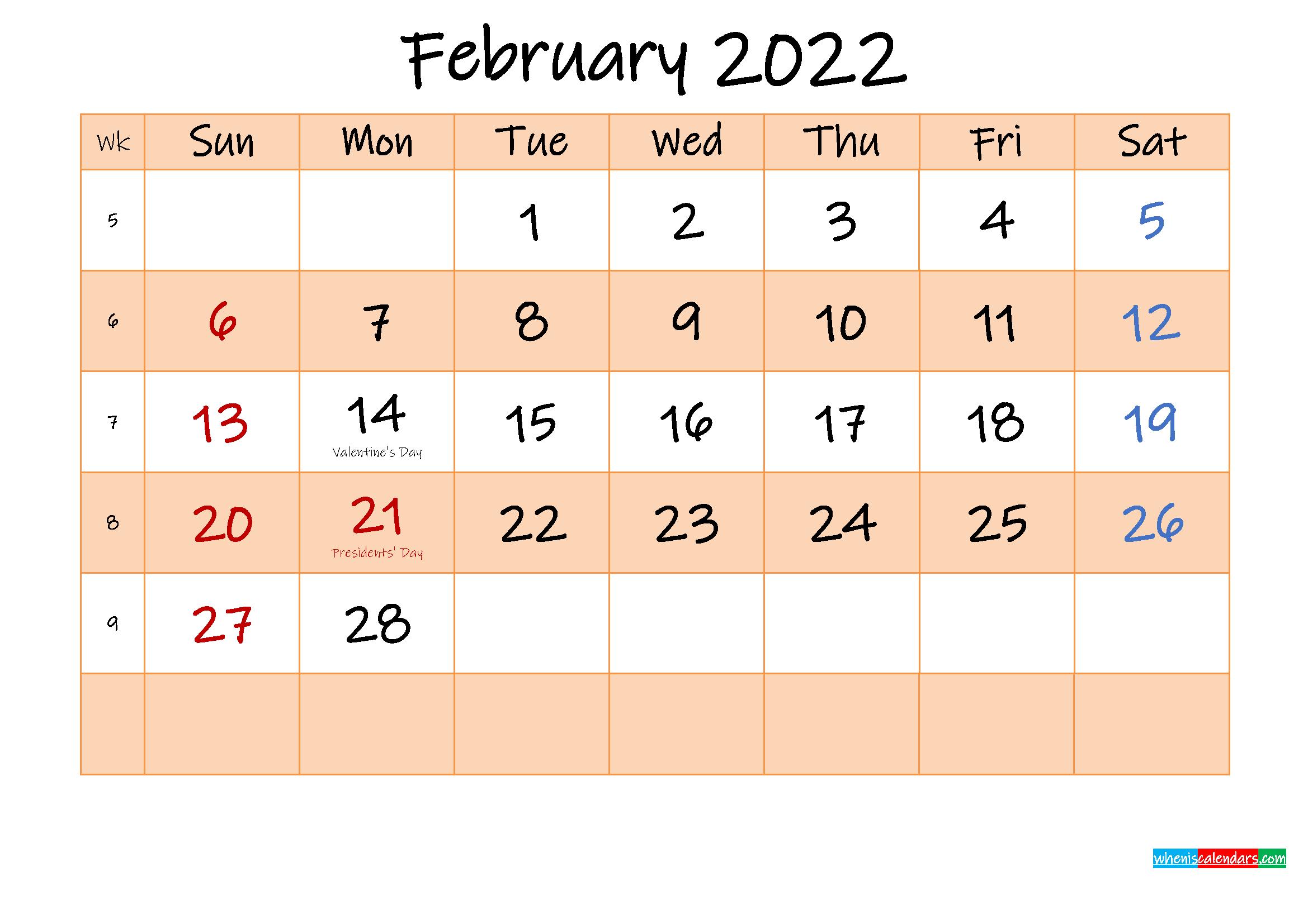 Editable February 2022 Calendar – Template No.ink22M482 With Calendar Print Feb 2022