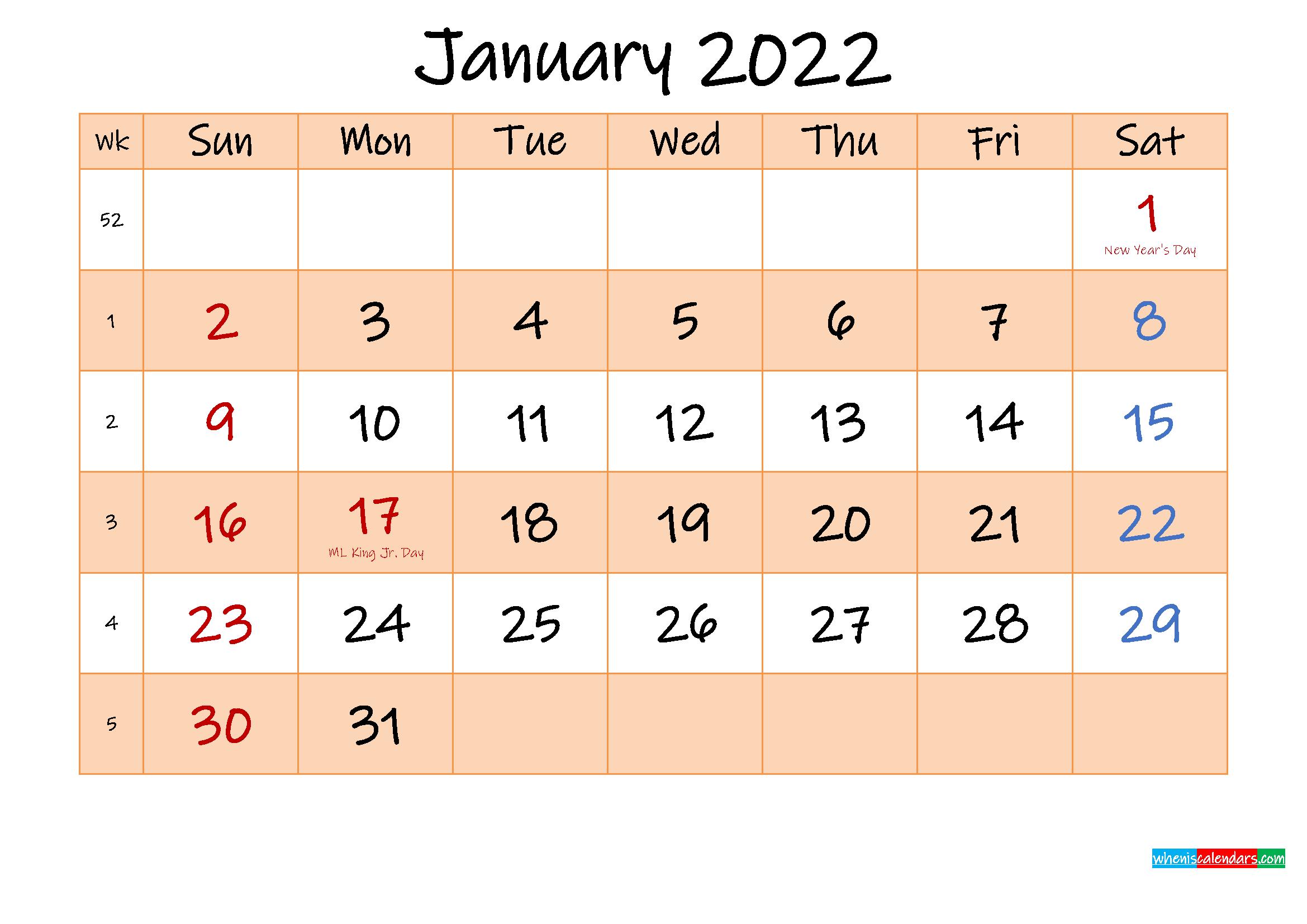 Editable January 2022 Calendar – Template No.ink22M481 Inside January Calendar Printable 2022