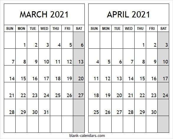 Editable Mar Apr 2021 Calendar   March 2021 Free Printable Template Inside March And April 2021 Calendar