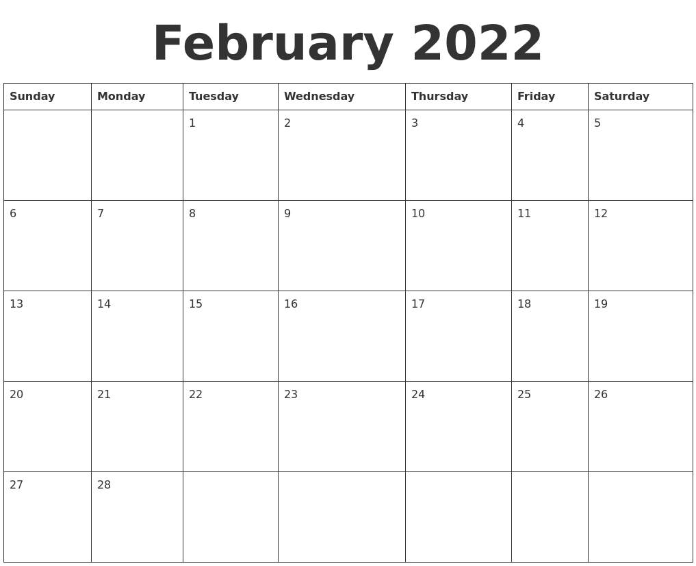 February 2022 Blank Calendar Template With Regard To Blank Calendar For February 2022