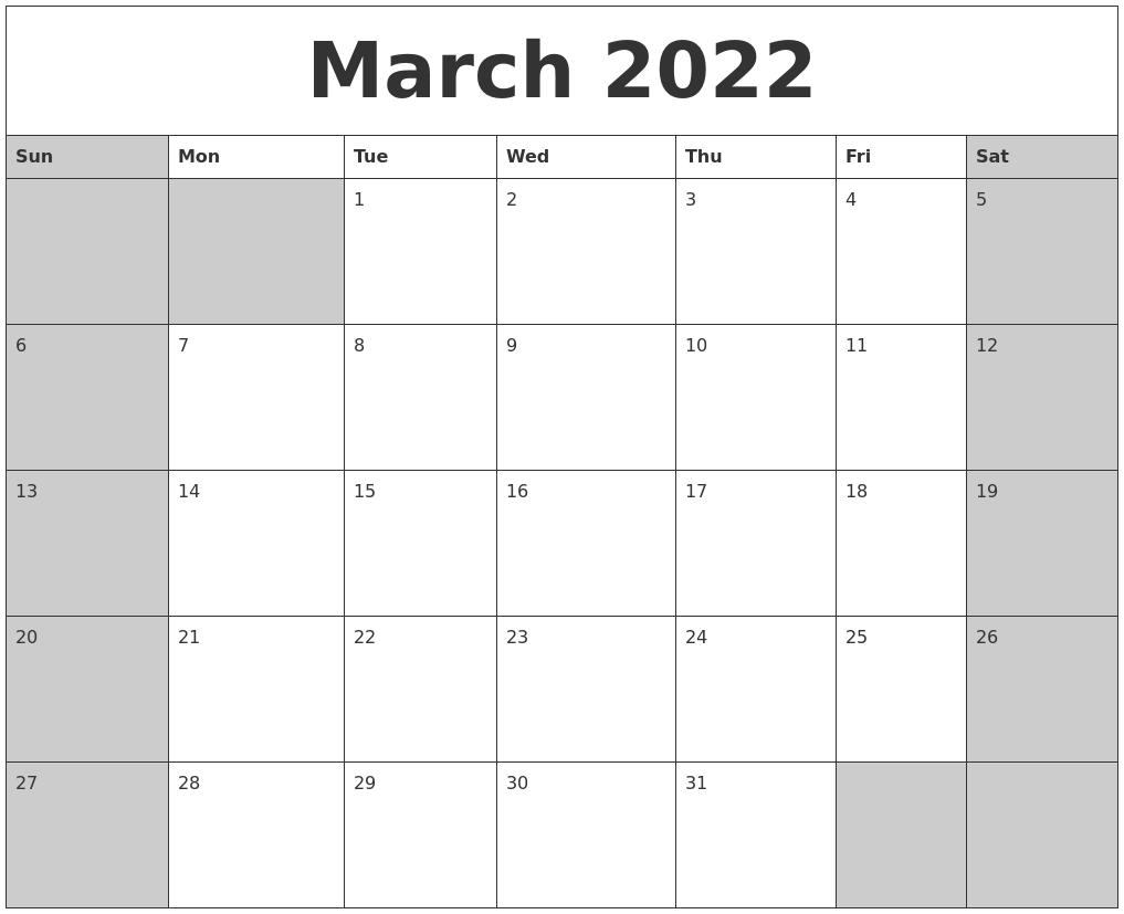 February 2022 Blank Printable Calendar In 2022 Calendar March And April