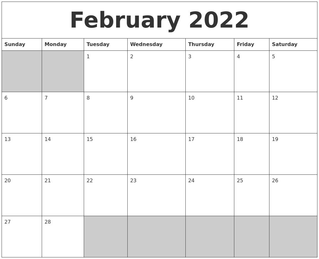 February 2022 Blank Printable Calendar Throughout Free Printable Calendar For February 2022