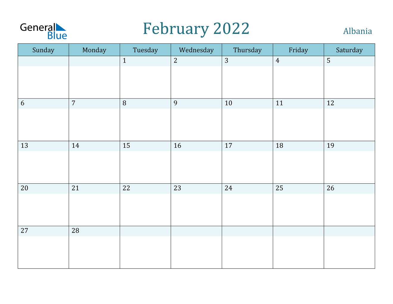 February 2022 Calendar – Albania Throughout Blank Calendar For February 2022