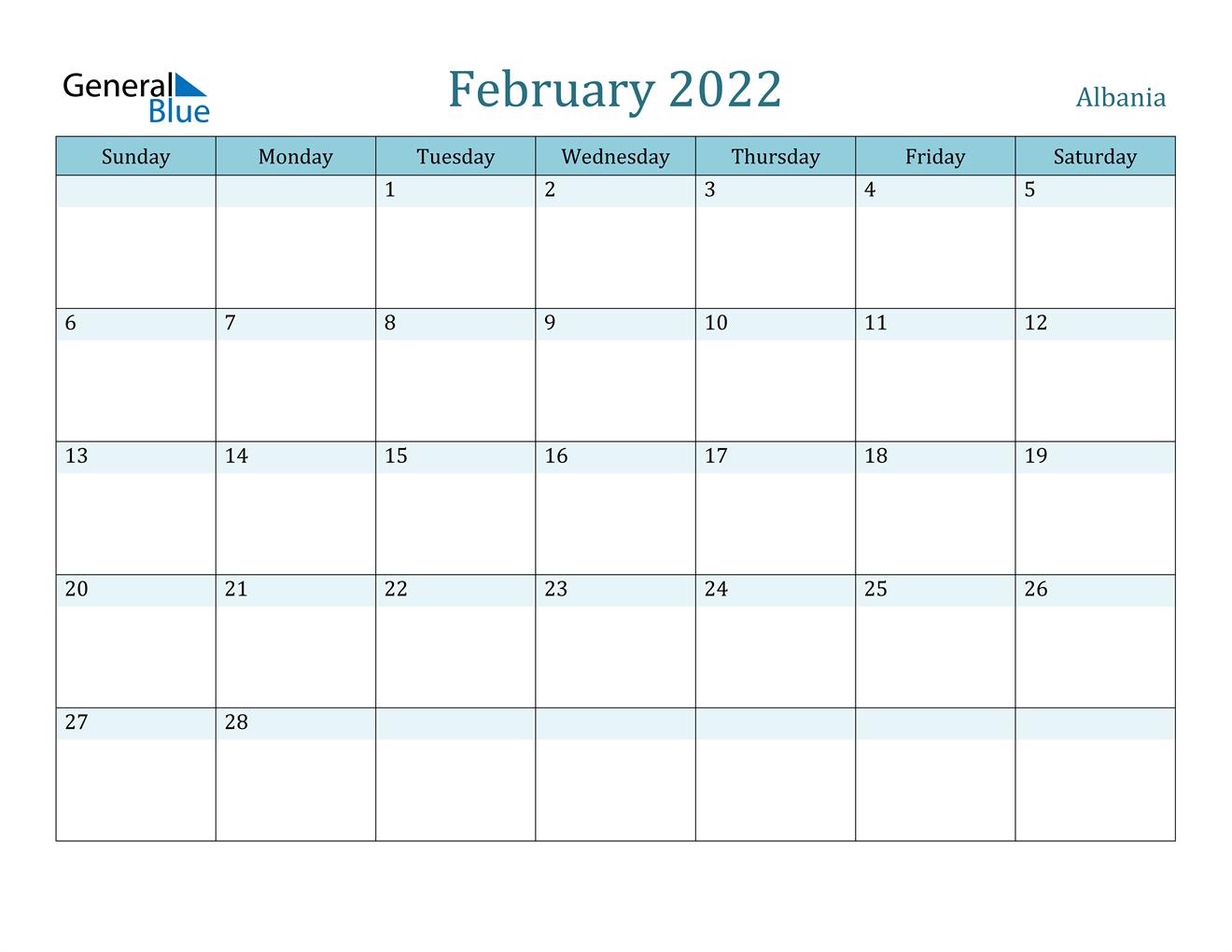 February 2022 Calendar - Albania With Feb 2022 Calendar Template
