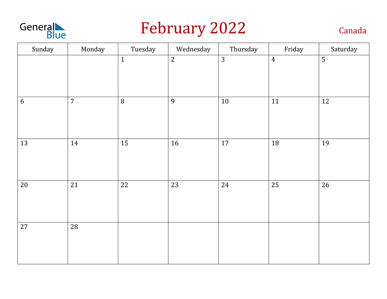 February 2022 Calendar – Canada Regarding Feb 2022 Calendar Printable Free