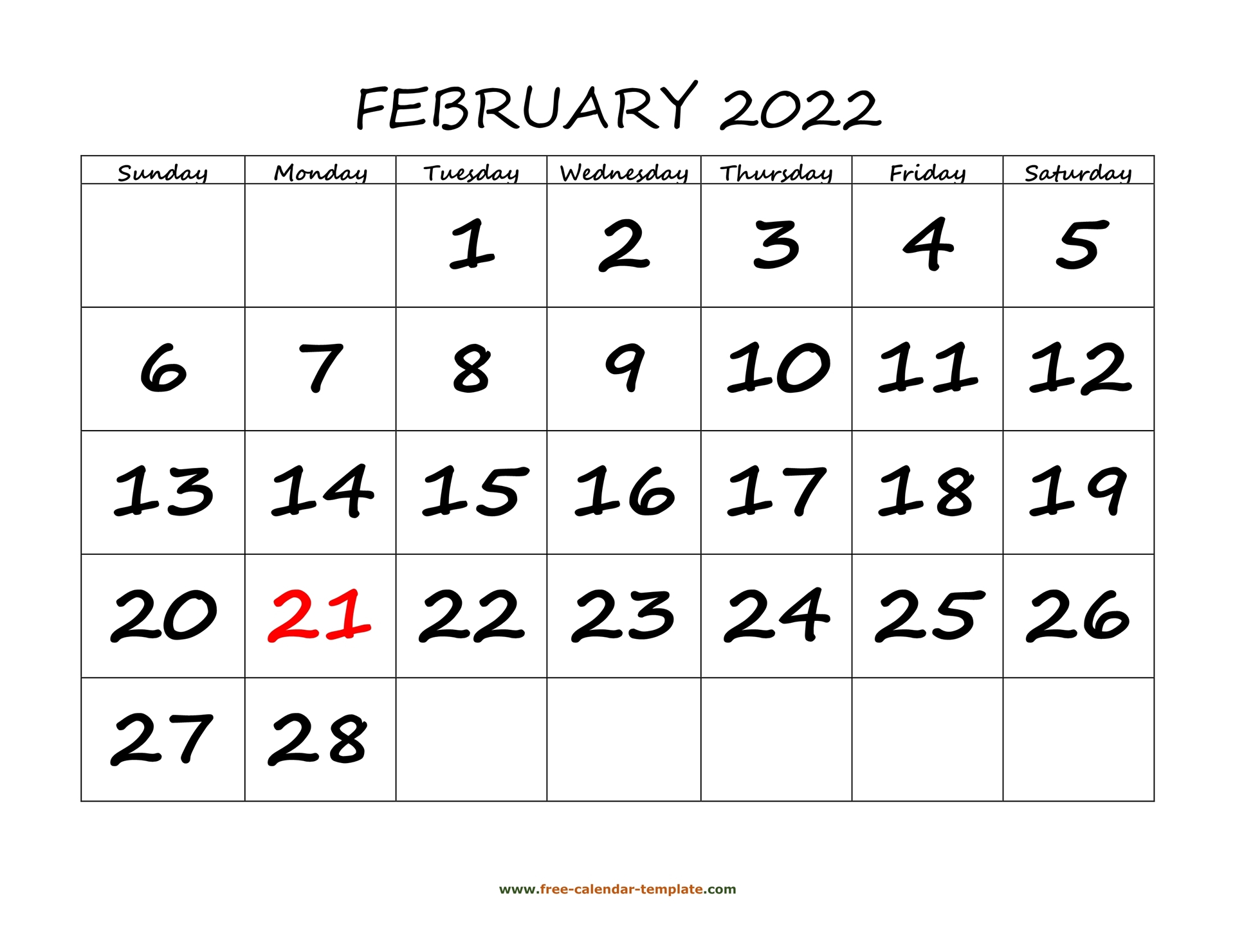 February 2022 Calendar Designed With Large Font With Regard To Blank Calendar For February 2022
