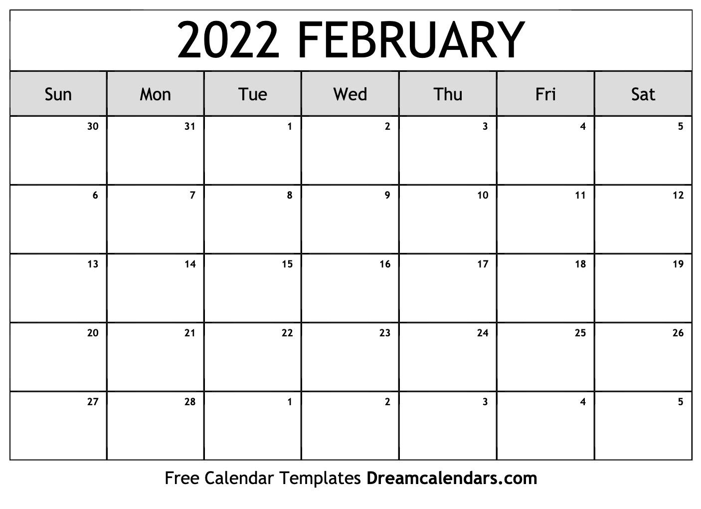 February 2022 Calendar   Free Blank Printable Templates Inside Printable Februaryy 2022 Calendar
