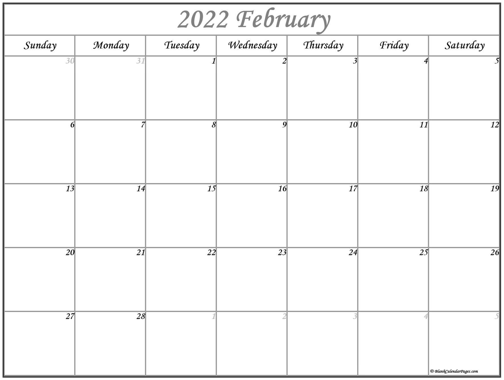 February 2022 Calendar | Free Printable Calendar Templates For Blank Calendar For February 2022