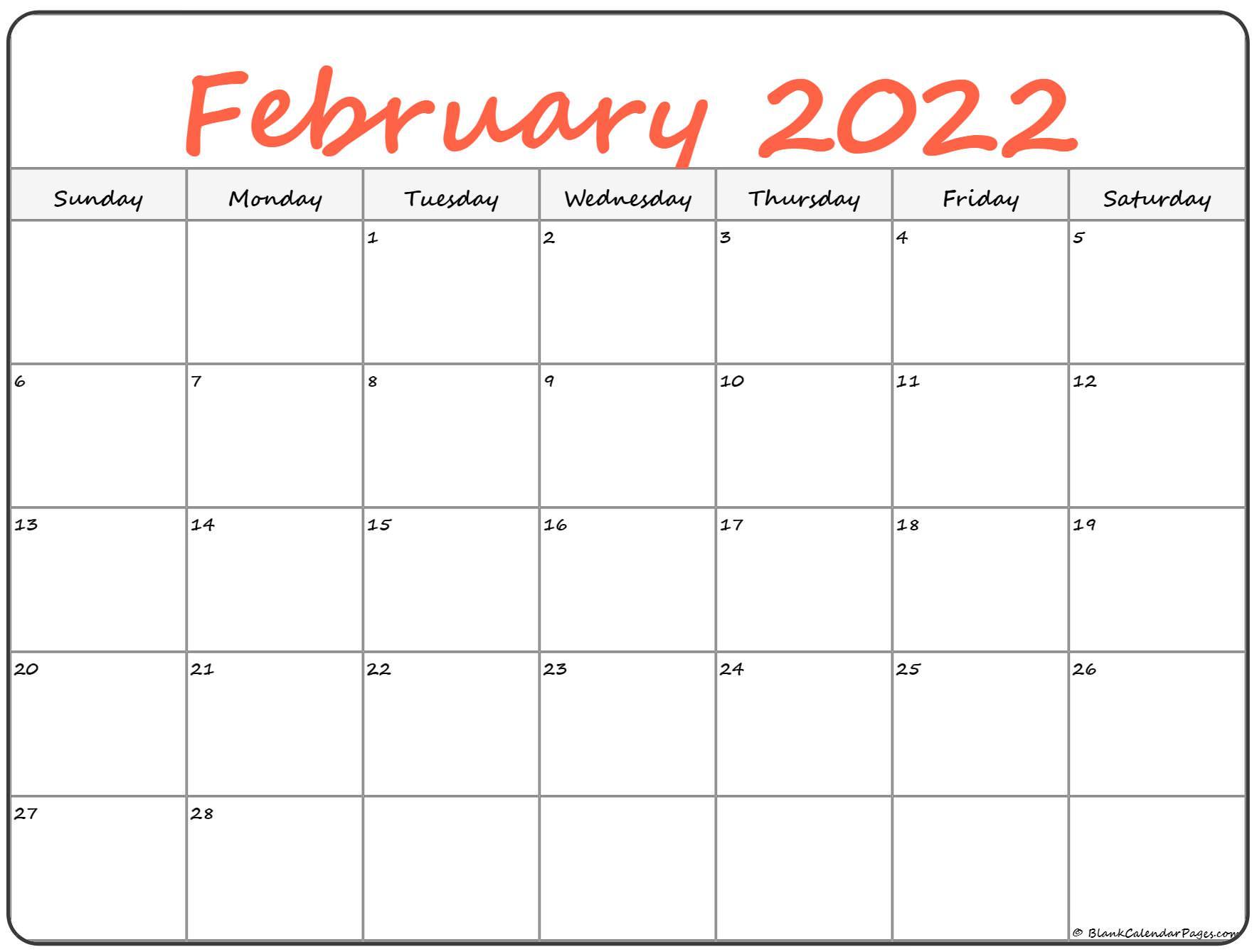 February 2022 Calendar | Free Printable Calendar Templates For Fillable February 2022 Calendar
