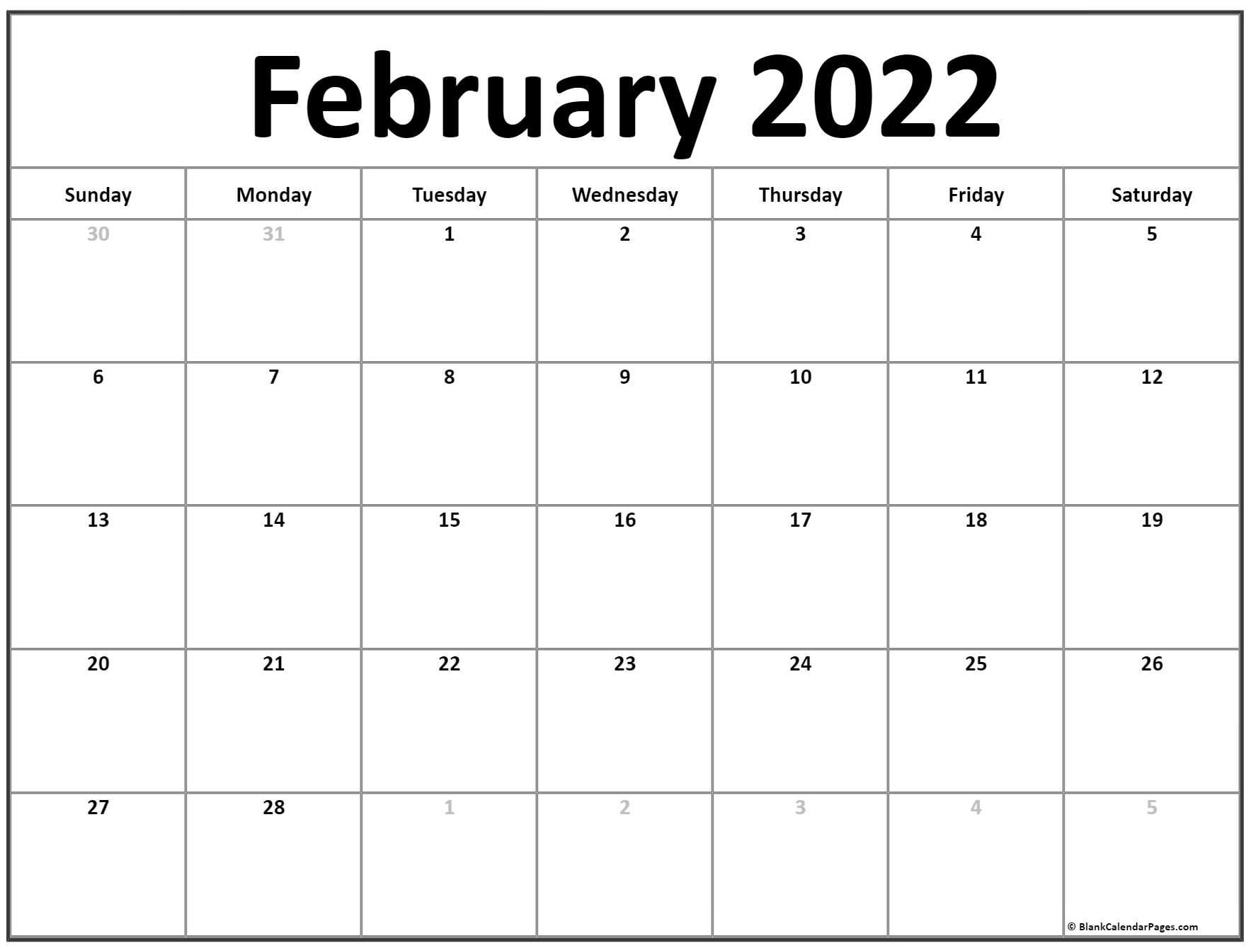 February 2022 Calendar | Free Printable Calendar Templates Intended For Fillable February 2022 Calendar