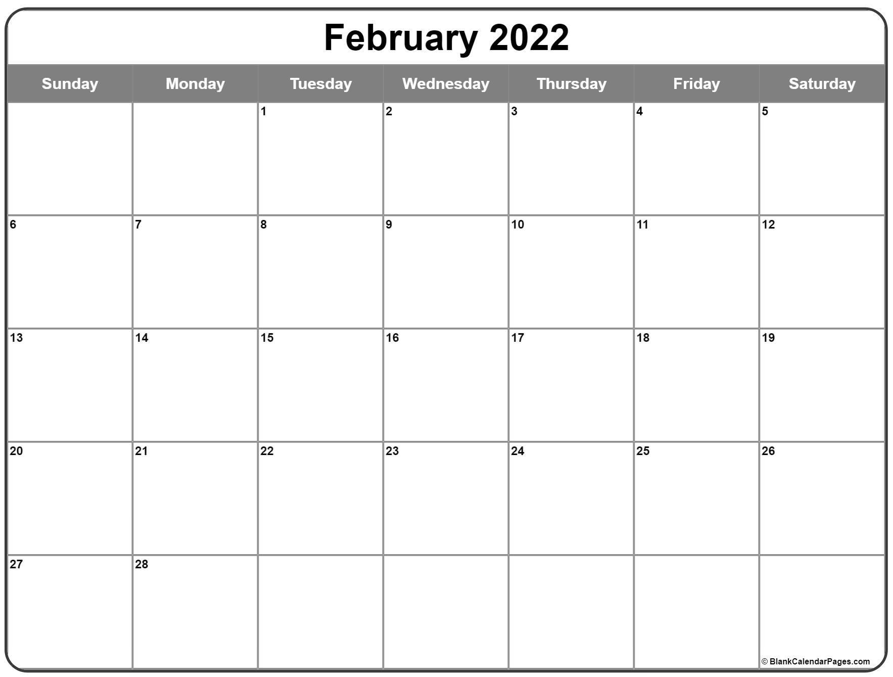 February 2022 Calendar   Free Printable Calendar Templates Throughout Printable Februaryy 2022 Calendar